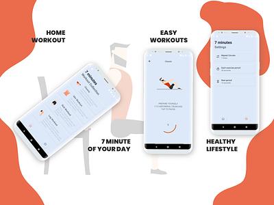 Seven Minutes Workout Mobile App Design mobile application design mobile application application app design seven minute workout fitness appdesigner appdesign branding ux ui uiux minimal