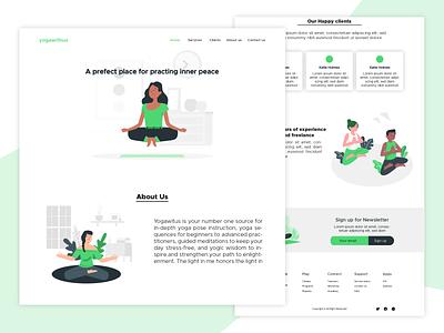 A website design for yoga tutoring company website concept fitness yoga websites green simple website design web design website landing webdesign branding ux ui uiux design vector illustration minimal