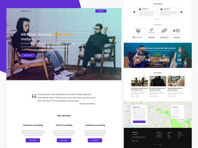 Website design for Counselling service for men health minimalist clean ui clean landing page website web landing webdesign branding ux ui uiux minimal