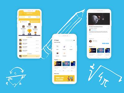 E Learning App educational educational app modern minimal blue mobile app e learining app online education elearning ui uiux