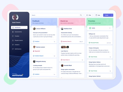Conversations Dashboard workhuman conversations create button filters design card accessibility ux swimlanes natural sidebar menu colorful organic dashboard layout interface rebrand ui
