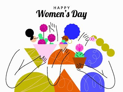 All the best 💐 botanical illustration women women in illustration womens day green blue botanical flat minimal illustrator design vector illustration