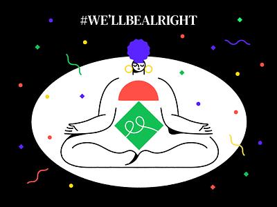 It's yoga time 🙏 design vector black minimal square line geometric flat illustration meditation meditate yoga