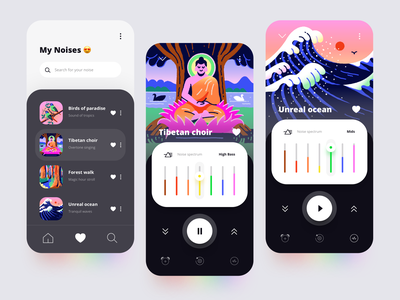 White Noise app 🌊 mynoiseapp mynoise water birds forest waves meditation sound music noise design mobile app ui multicolor ios illustration application appdesign app
