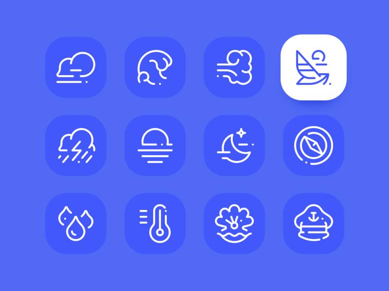 Sea icon set ⛵️ wave storm moon sun wind sketchapp grid ui vector freebie sea iconography line icon design icon design