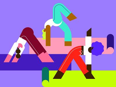Stretch those legs 💥 grid girls joga blue flat minimal illustrator design vector illustration