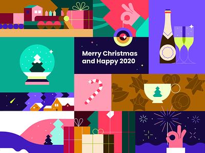 Getting into the holiday mood 🎄🎉 newyear christmas flat minimal illustrator design vector illustration
