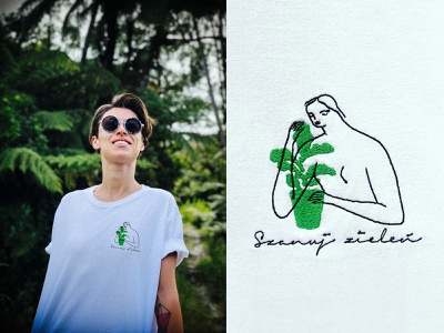 """Embroidered T 🌴 """"Respect Greenery"""" lineart embroidery green environment botanical flat minimal illustrator design illustration"""