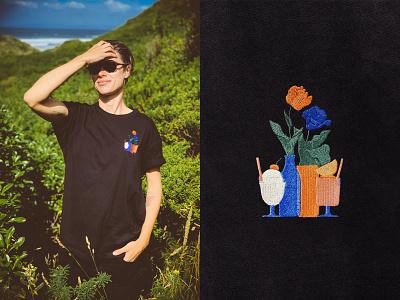 Embroidered T 💐🍨 tshirt embroidery blue green environment botanical flat minimal illustrator design vector illustration