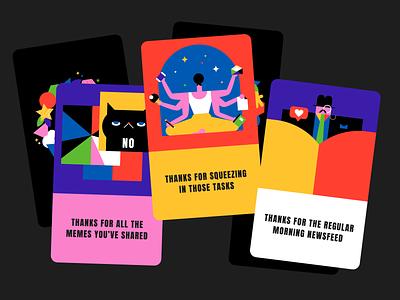 ThankU cards 💐 cards kudos flat minimal illustrator design vector illustration