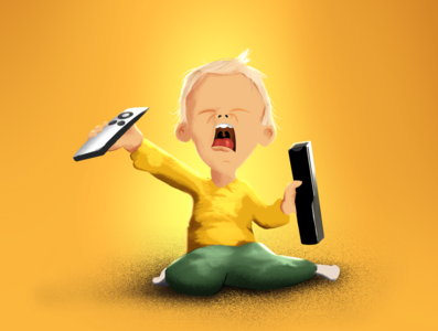 No TV no life! frustration angry kids illustration procreate 2d character cartoon