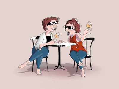 Systrarna sisters laughing conversation relationship design character vacation illustration 2d