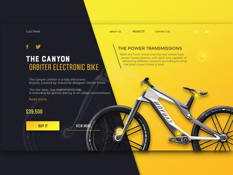 Electric Bike Concept web ui design