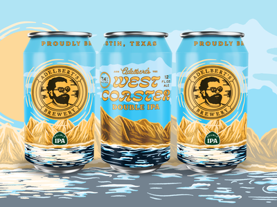 Adelbert's West Coaster beer can package design beer design branding illustration type typography matt thompson