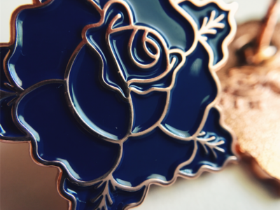 Blue Rose for the Cause donatation cancer enamel pin illustration pin