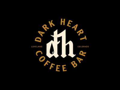 Dark Heart - nah seal badge coffee type blackletter matt thompson