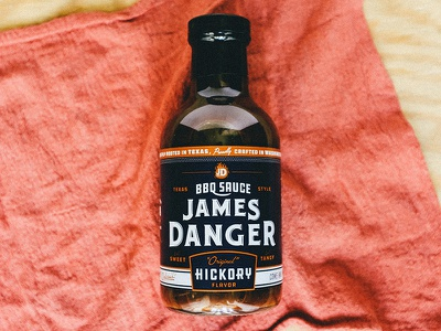 James Danger BBQ label sauce bbq packaging type logo logotype identity branding matt thompson