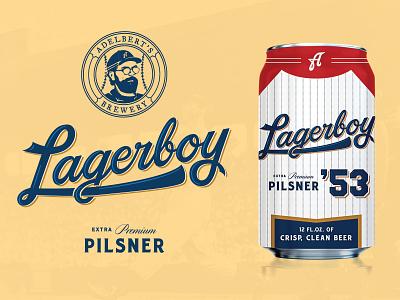 Adelbert's Lagerboy beer can can beer branding logo lettering illustration type typography matt thompson