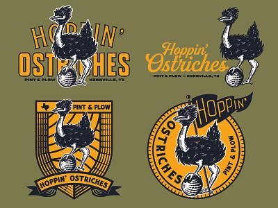 Hoppin' Ostriches script kickball sports mascot work fun lettering illustration type typography matt thompson