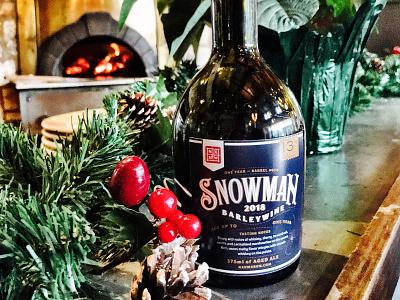 NXNW — 2018 Snowman Barleywine label design packaging bottle label beer bottle beer north by northwest typography matt thompson