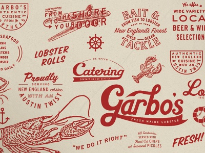 Garbo's cool identity work script fun branding logo texture lettering illustration type typography matt thompson
