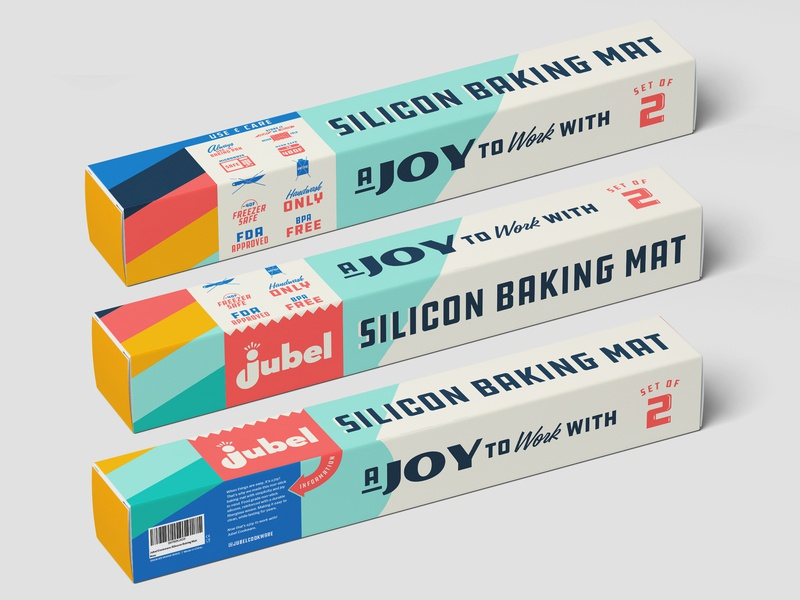 Jubel Cookware Silicon Baking Mat Packaging retrodesign retro design cooking baking packaging logo branding illustration type typography matt thompson