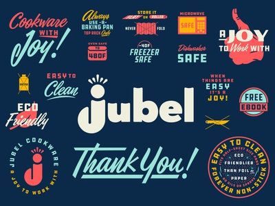 Jubel Cookware Brand Extension fun parts brand extension extension packaging work design fun logo branding illustration type typography matt thompson