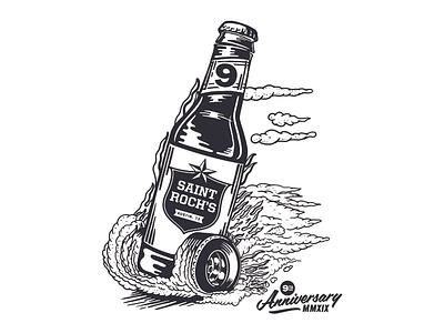 St Rochs Anniversary Illustration beer bottle dragster tshirt apparel fun illustration typography matt thompson