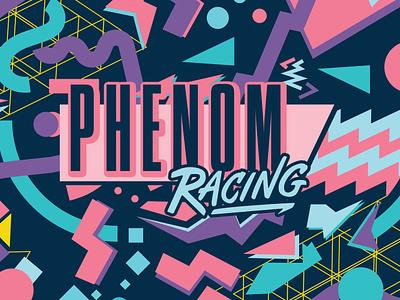 Phenom Racing Logotype & Pattern memphis style 90s pattern design fun logo illustration type typography matt thompson
