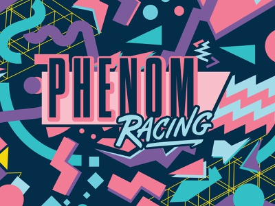 Phenom Racing Logotype & Pattern memphis style 90s pattern design fun logo illustration type typography matt thompson