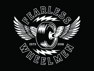 Fearless Wheelmen // Winged Race Wheel hand drawn badge design branding illustration type typography matt thompson