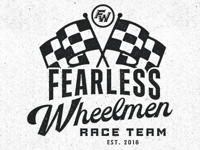 Fearless Wheelmen // Race Badge badge script design texture branding illustration type typography matt thompson