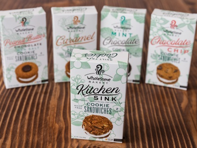 Wholesome Bakery Cookie Sandwiches cookies cookiesandwiches packagedesign packaging branding type typography matt thompson