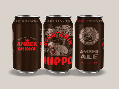 Adelbert's Scratchin' Hippo beer packaging illustration type typography matt thompson