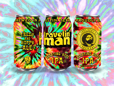 Adeblert's Travelin' Man beercan cans packaging beer lettering illustration type typography matt thompson