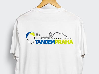 Tandem Praha paragliding ux ui vector illustration blue czech branding brand shirt tshirt design logodesign web logo