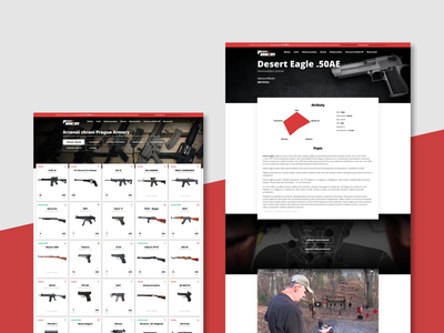Prague Armory site webdesign website black dark red brand landingpage mcirosite uiux cards ui cards prague guns armory