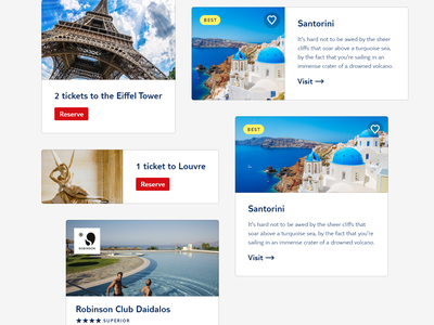Cards ui design call to action travel card design system