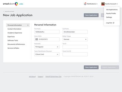 Job Application Panel application job recruitment backoffice interface ui design