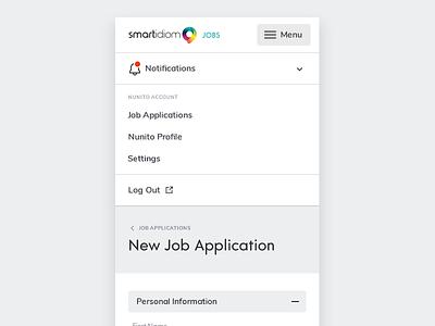 Mobile Menu input form accordion responsive menu mobile ui design