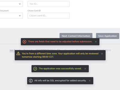 Crucial bits @ big system pt. 1 toast snackbar notification alert backoffice web app interface design ui design