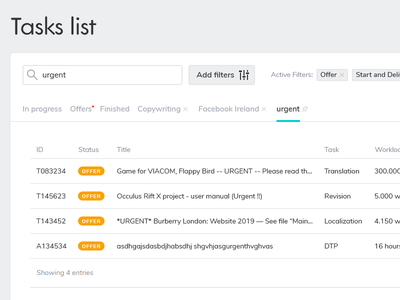 Tasks List tabs task filter search table interface design ui