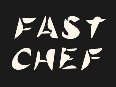 Fast Chef organic experimental heading quick fast chef title blobs shapes vector typography type