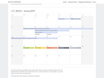 Slayout Nav Calendar.Html calendar library svg html css ui interface frontend ui design design