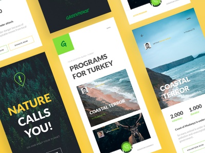 Greenpeace Volunteering App Design web design branding app ux ui mobile