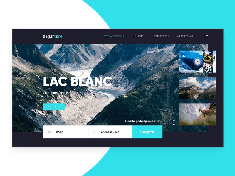 Departure - Travel Website Landing Page interface landing clean blue black white landing page design travel agency travel app travelling travel website web design ux ui logo web identity branding