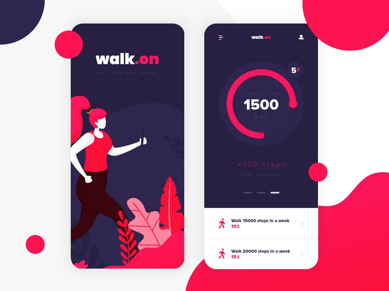 walk.on - walk and earn money | App Design navy blue pink red mobile app design mobile vector icon illustration landing page app web design ux ui logo web identity design branding