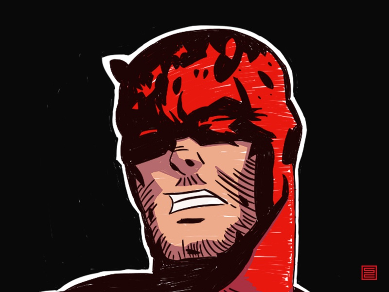 Daredevil Illustration digital art tablet wacom drawing comics comic art photoshop sketchbook comic daredevil design illustration