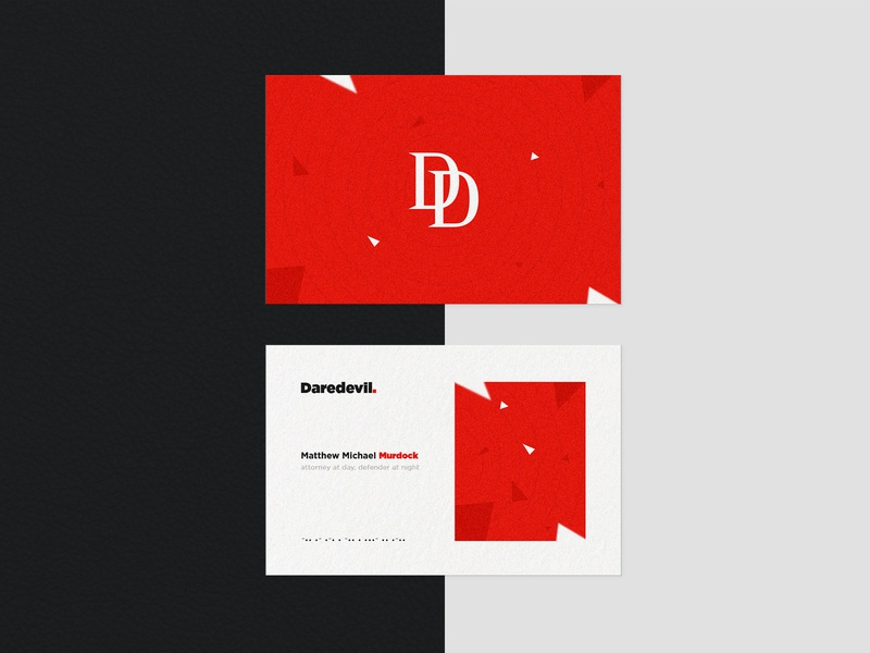 Daredevil - Design a Business Card for a Superhero Warm-Up marvel black red superhero mockup business card daredevil typography minimal identity design branding