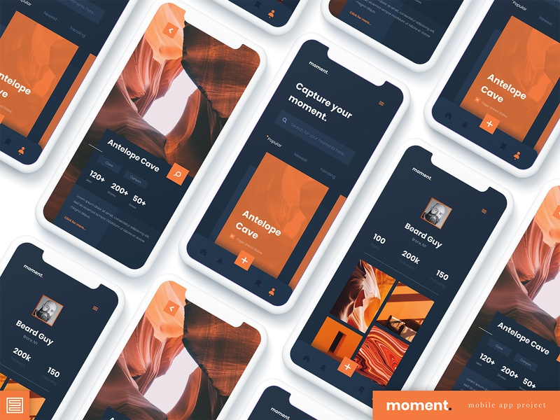Moment - Photography App ux design ui design iphonex figma photography mobile design mobile app design app web typography ux ui